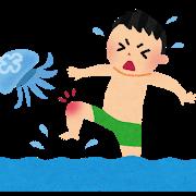 クラゲに刺される人イラスト